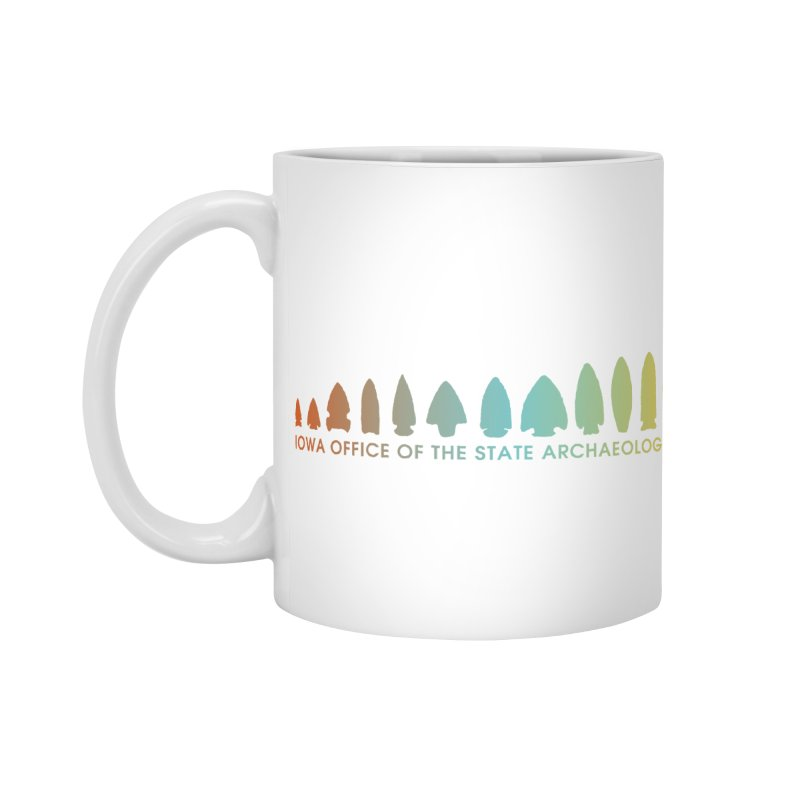 Iowa Projectile Points (Banner, Rainbow) Accessories Mug by Iowa Archaeology Gifts, Prints, & Apparel