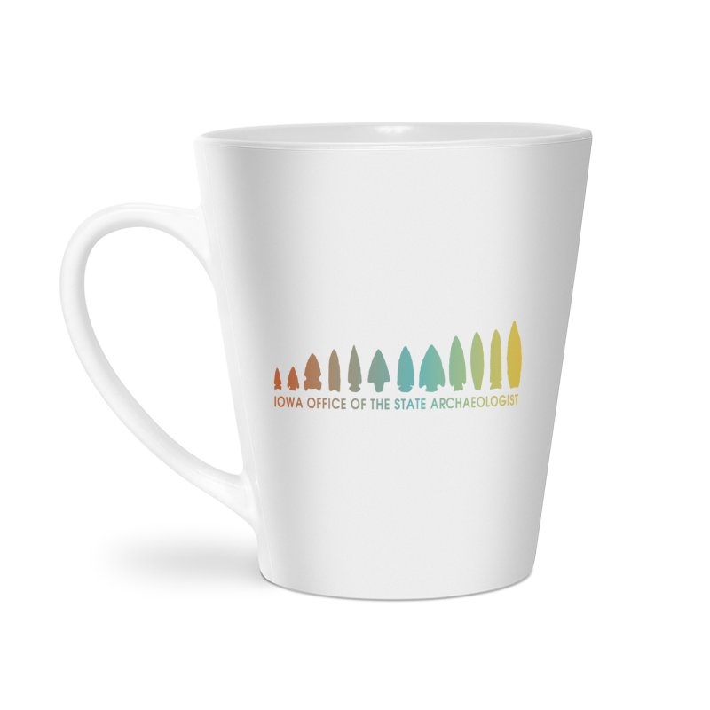 Iowa Projectile Points (Banner, Rainbow) Accessories Latte Mug by Iowa Archaeology Gifts, Prints, & Apparel