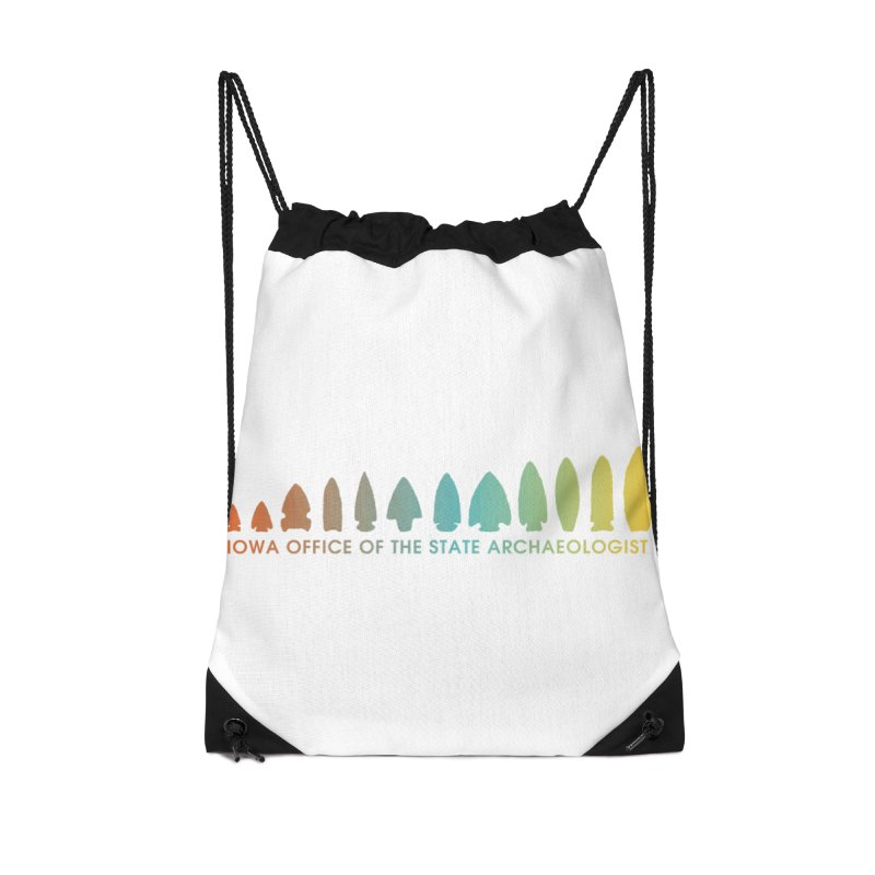 Iowa Projectile Points (Banner, Rainbow) Accessories Drawstring Bag Bag by Iowa Archaeology Gifts, Prints, & Apparel