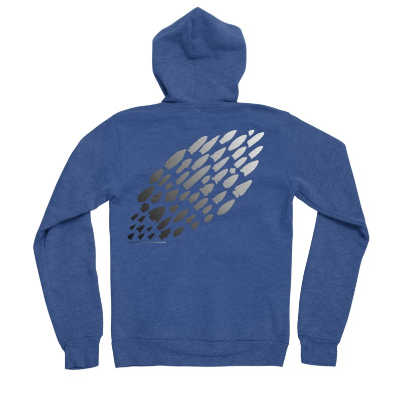 Iowa Projectile Points (B/W) Women's Sponge Fleece Zip-Up Hoody by Iowa Archaeology Gifts, Prints, & Apparel