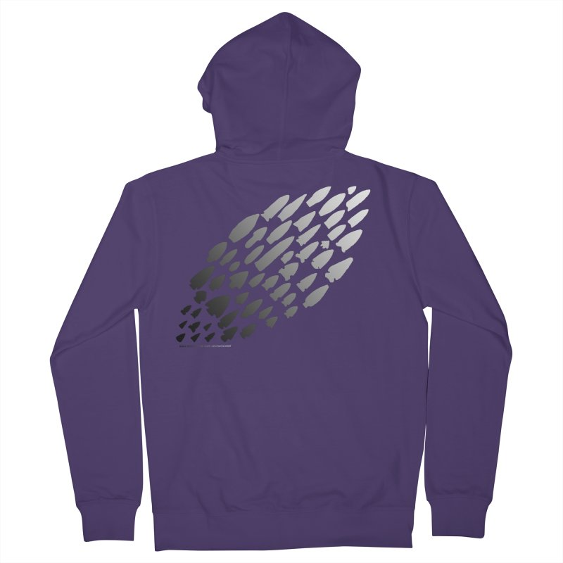 Iowa Projectile Points (B/W) Women's French Terry Zip-Up Hoody by Iowa Archaeology Gifts, Prints, & Apparel