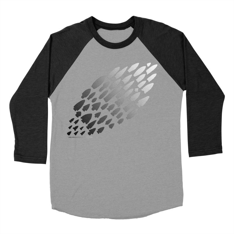 Iowa Projectile Points (B/W) Men's Baseball Triblend Longsleeve T-Shirt by Iowa Archaeology Gifts, Prints, & Apparel