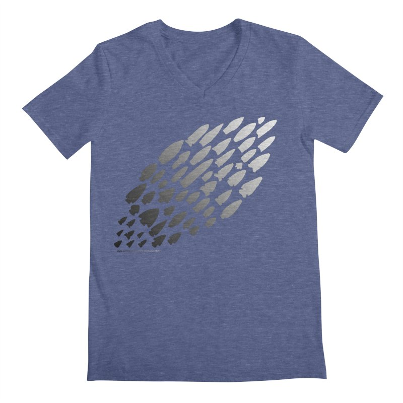 Iowa Projectile Points (B/W) Men's Regular V-Neck by Iowa Archaeology Gifts, Prints, & Apparel