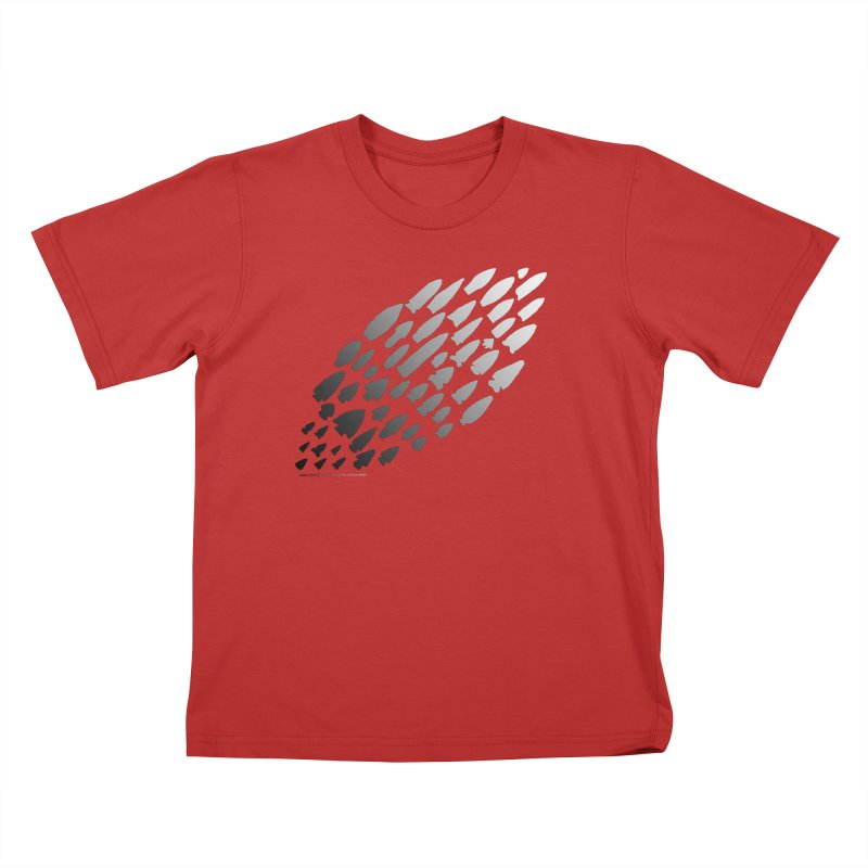 Iowa Projectile Points (B/W) Kids T-Shirt by Iowa Archaeology Gifts, Prints, & Apparel