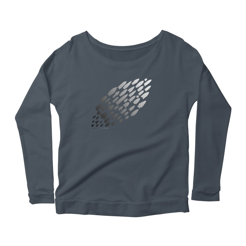 Iowa Projectile Points (B/W) Women's Scoop Neck Longsleeve T-Shirt by Iowa Archaeology Gifts, Prints, & Apparel