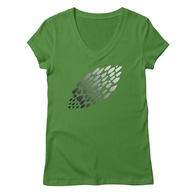 Iowa Projectile Points (B/W) Women's Regular V-Neck by Iowa Archaeology Gifts, Prints, & Apparel