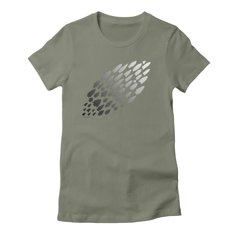 Iowa Projectile Points (B/W) Women's Fitted T-Shirt by Iowa Archaeology Gifts, Prints, & Apparel