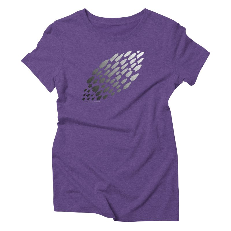 Iowa Projectile Points (B/W) Women's Triblend T-Shirt by Iowa Archaeology Gifts, Prints, & Apparel
