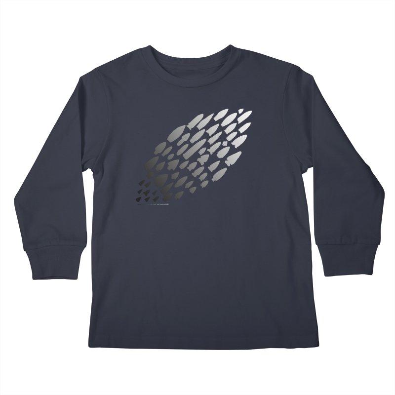 Iowa Projectile Points (B/W) Kids Longsleeve T-Shirt by Iowa Archaeology Gifts, Prints, & Apparel