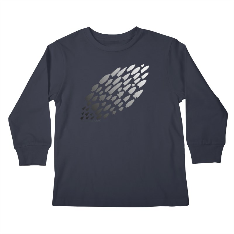 Iowa Projectile Points (B/W) Kids Longsleeve T-Shirt by Iowa Archaeology Gifts, Prints, & Apparel