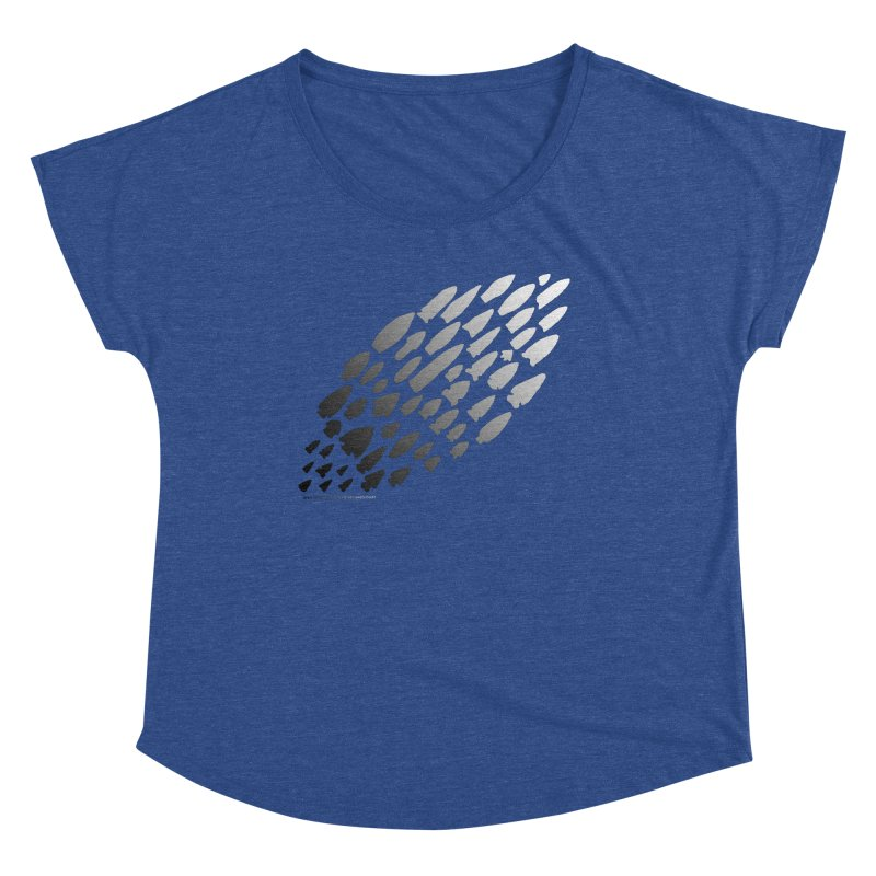 Iowa Projectile Points (B/W) Women's Scoop Neck by Iowa Archaeology Gifts, Prints, & Apparel