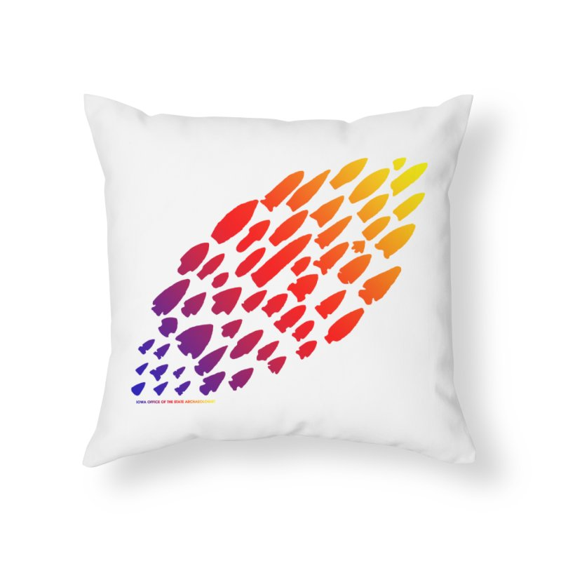 Iowa Projectile Points (Rainbow, Version 1) Home Throw Pillow by Iowa Archaeology Gifts, Prints, & Apparel