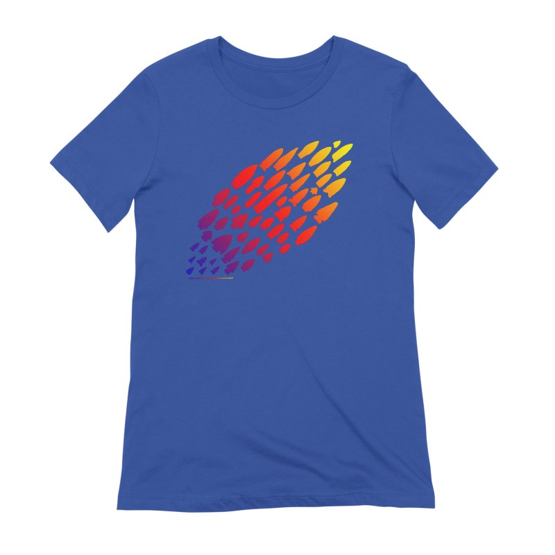 Iowa Projectile Points (Rainbow, Version 1) Women's Extra Soft T-Shirt by Iowa Archaeology Gifts, Prints, & Apparel