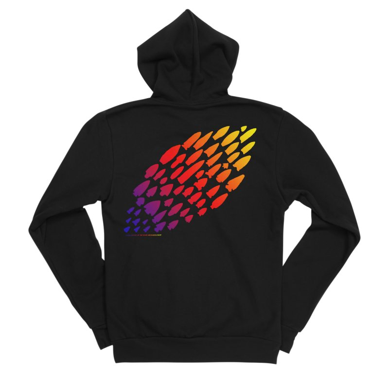 Iowa Projectile Points (Rainbow, Version 1) Women's Sponge Fleece Zip-Up Hoody by Iowa Archaeology Gifts, Prints, & Apparel