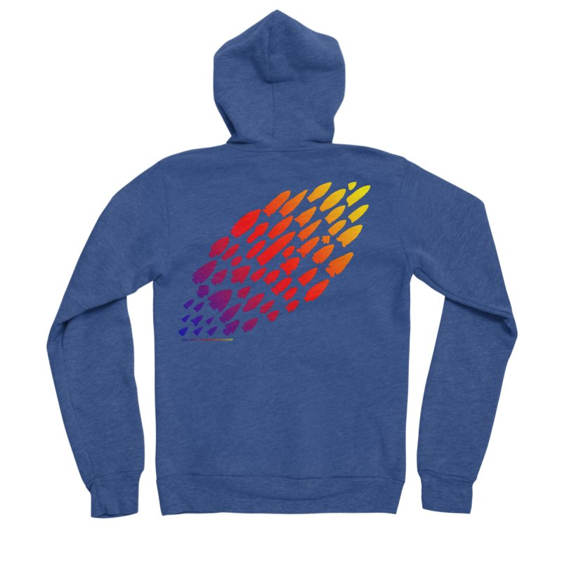 Iowa Projectile Points (Rainbow, Version 1) Men's Sponge Fleece Zip-Up Hoody by Iowa Archaeology Gifts, Prints, & Apparel