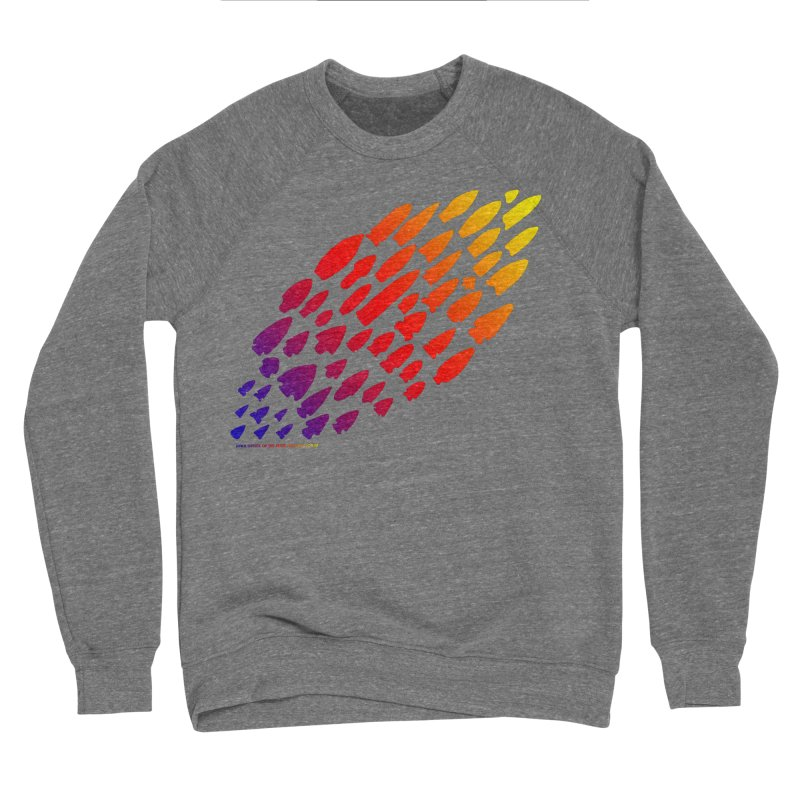 Iowa Projectile Points (Rainbow, Version 1) Women's Sponge Fleece Sweatshirt by Iowa Archaeology Gifts, Prints, & Apparel