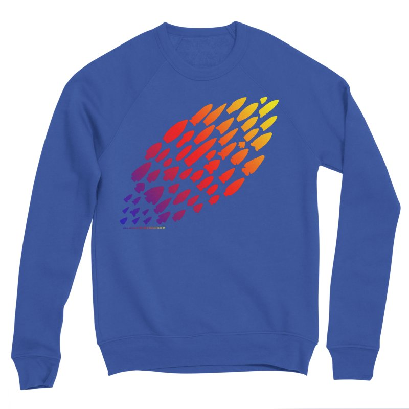 Iowa Projectile Points (Rainbow, Version 1) Men's Sponge Fleece Sweatshirt by Iowa Archaeology Gifts, Prints, & Apparel