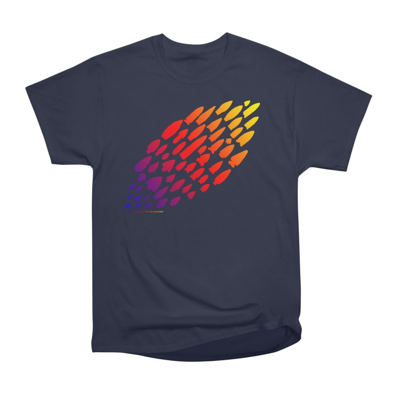 Iowa Projectile Points (Rainbow, Version 1) Men's Heavyweight T-Shirt by Iowa Archaeology Gifts, Prints, & Apparel