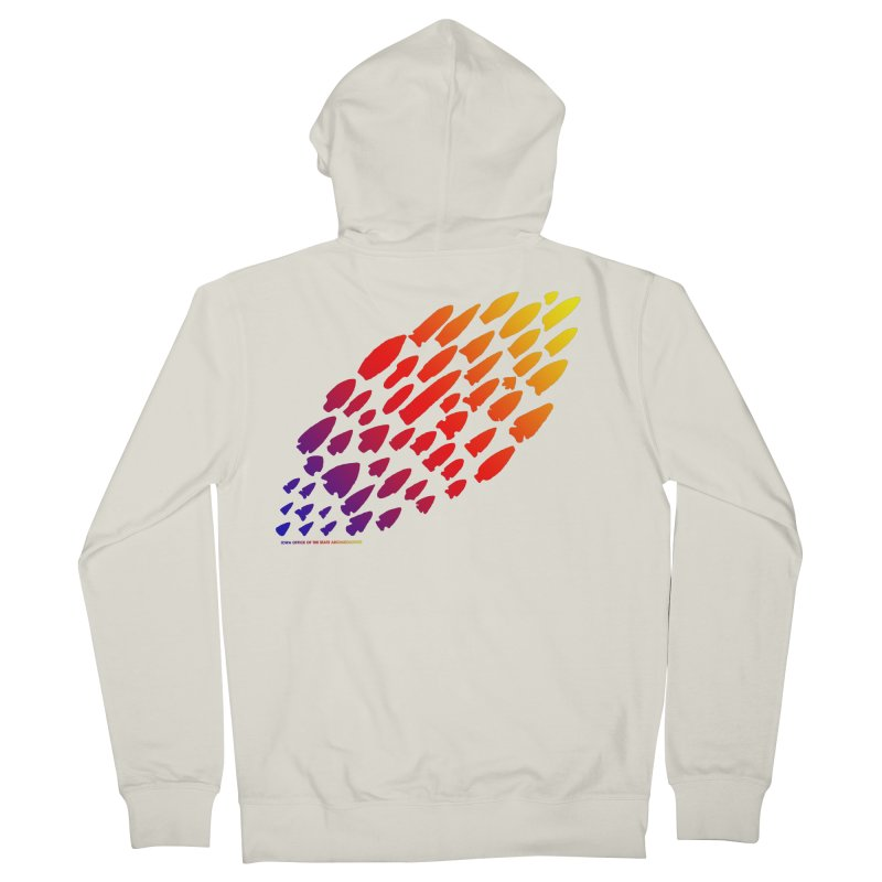 Iowa Projectile Points (Rainbow, Version 1) Men's French Terry Zip-Up Hoody by Iowa Archaeology Gifts, Prints, & Apparel