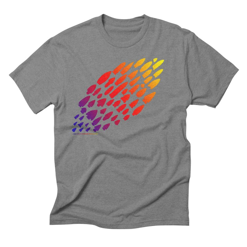 Iowa Projectile Points (Rainbow, Version 1) Men's Triblend T-Shirt by Iowa Archaeology Gifts, Prints, & Apparel
