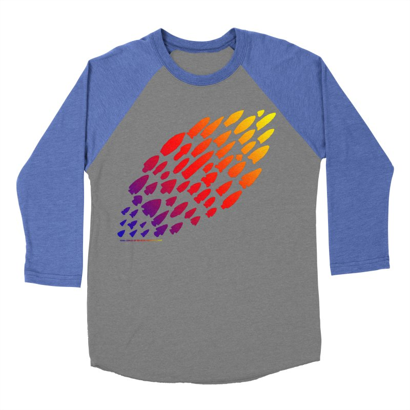 Iowa Projectile Points (Rainbow, Version 1) Women's Baseball Triblend Longsleeve T-Shirt by Iowa Archaeology Gifts, Prints, & Apparel