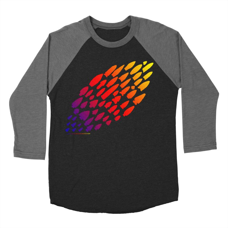 Iowa Projectile Points (Rainbow, Version 1) Men's Baseball Triblend Longsleeve T-Shirt by Iowa Archaeology Gifts, Prints, & Apparel