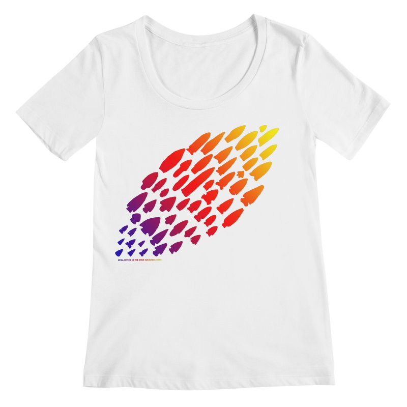 Iowa Projectile Points (Rainbow, Version 1) Women's Regular Scoop Neck by Iowa Archaeology Gifts, Prints, & Apparel