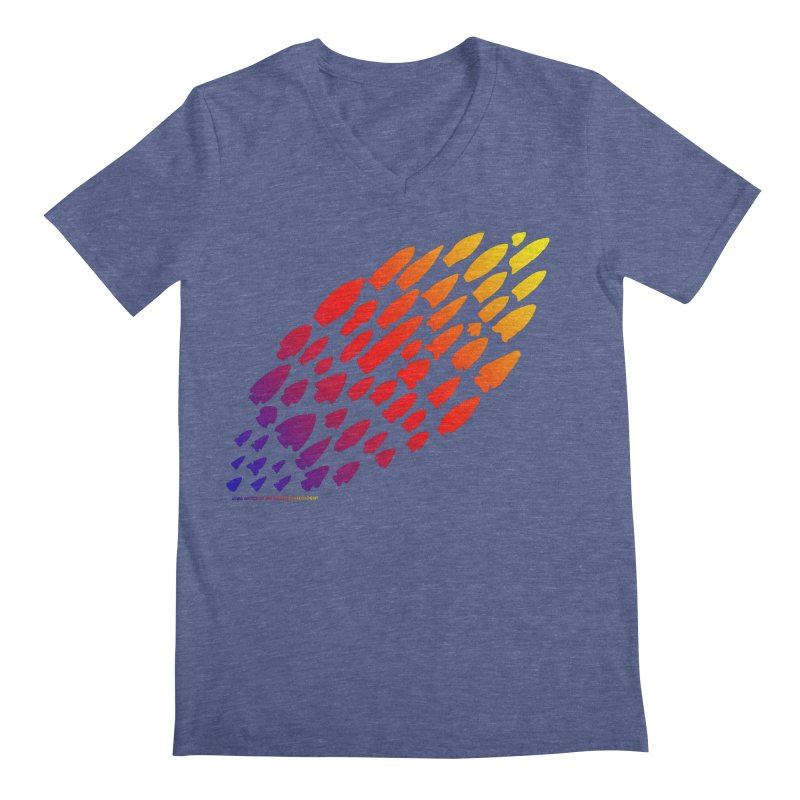 Iowa Projectile Points (Rainbow, Version 1) Men's Regular V-Neck by Iowa Archaeology Gifts, Prints, & Apparel