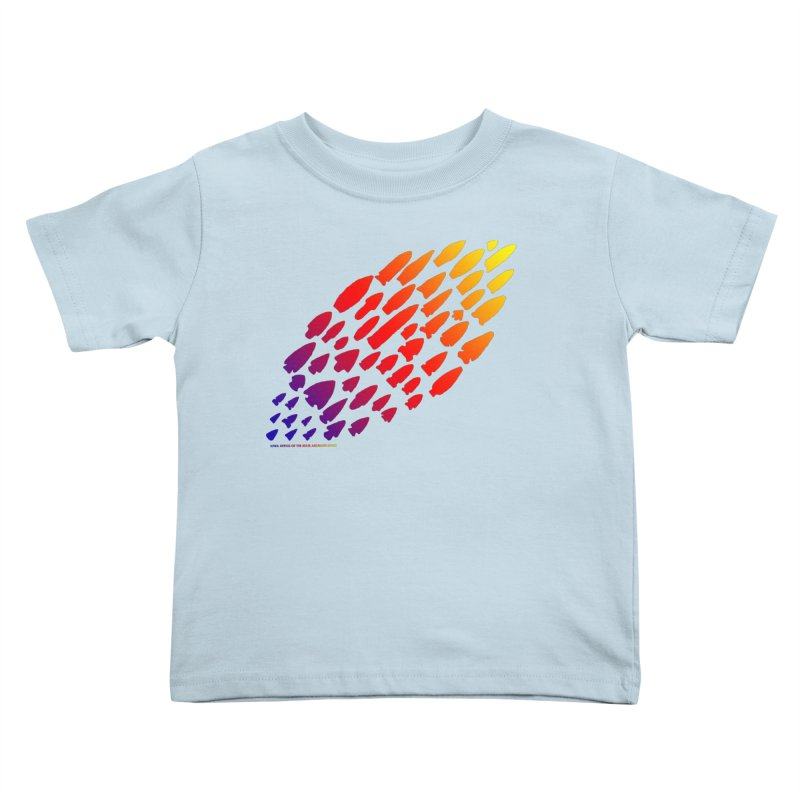 Iowa Projectile Points (Rainbow, Version 1) Kids Toddler T-Shirt by Iowa Archaeology Gifts, Prints, & Apparel