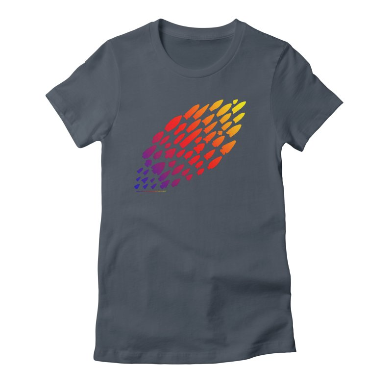 Iowa Projectile Points (Rainbow, Version 1) Women's T-Shirt by Iowa Archaeology Gifts, Prints, & Apparel