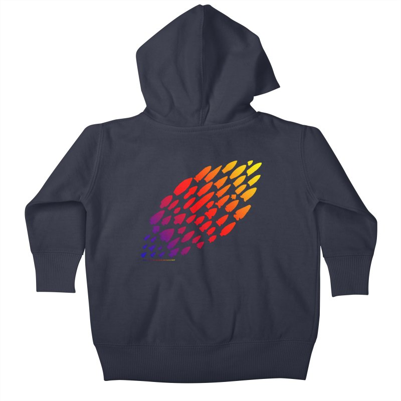 Iowa Projectile Points (Rainbow, Version 1) Kids Baby Zip-Up Hoody by Iowa Archaeology Gifts, Prints, & Apparel