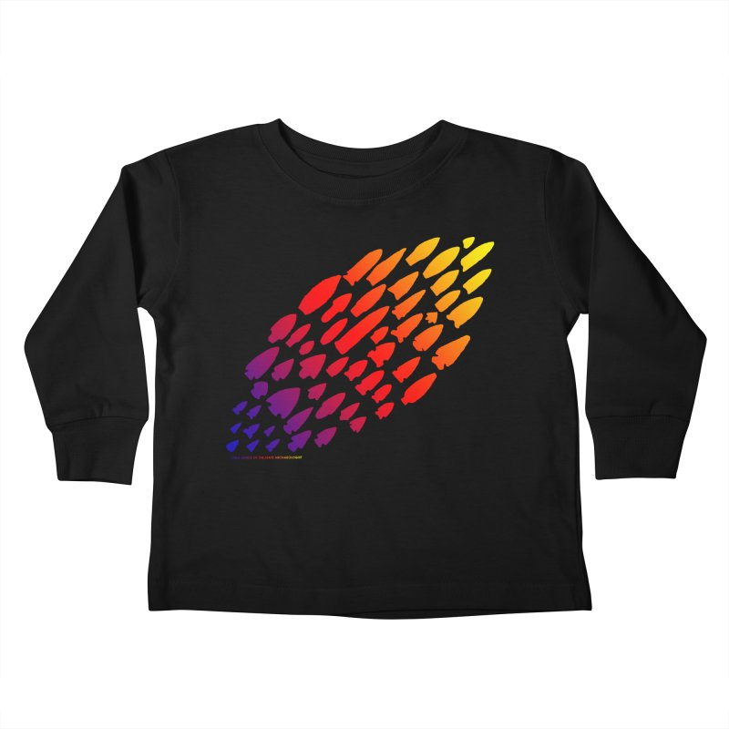 Iowa Projectile Points (Rainbow, Version 1) Kids Toddler Longsleeve T-Shirt by Iowa Archaeology Gifts, Prints, & Apparel
