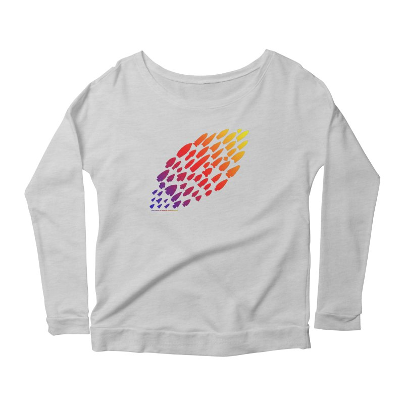 Iowa Projectile Points (Rainbow, Version 1) Women's Scoop Neck Longsleeve T-Shirt by Iowa Archaeology Gifts, Prints, & Apparel