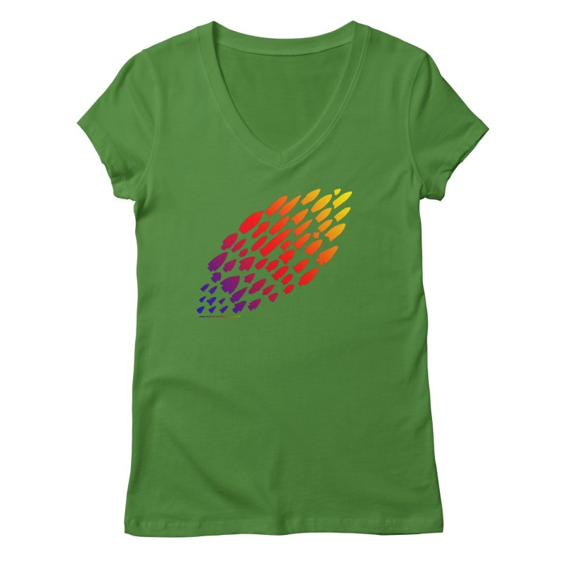 Iowa Projectile Points (Rainbow, Version 1) Women's Regular V-Neck by Iowa Archaeology Gifts, Prints, & Apparel