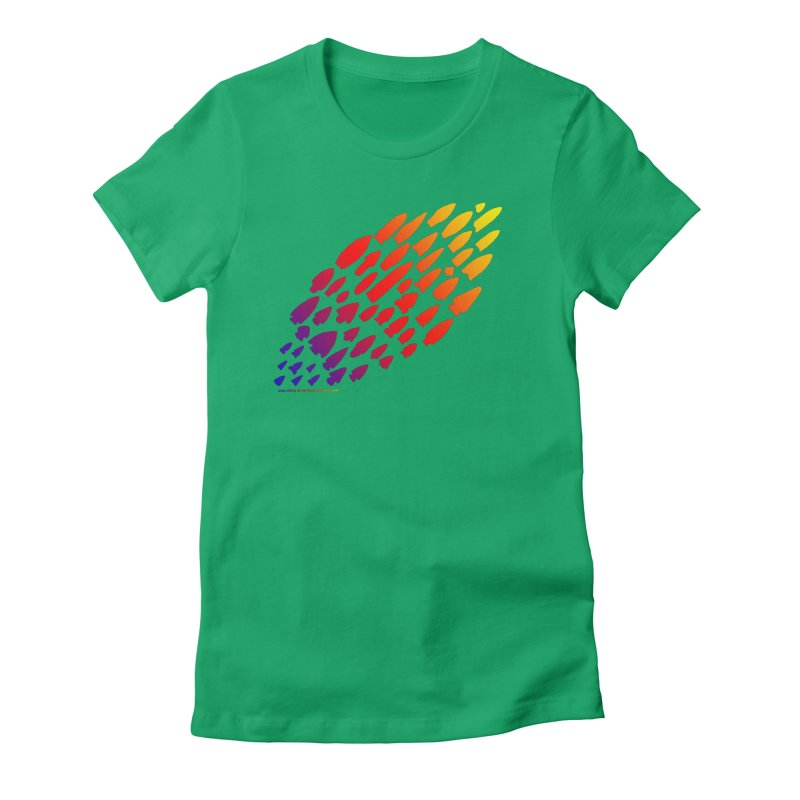 Iowa Projectile Points (Rainbow, Version 1) Women's Fitted T-Shirt by Iowa Archaeology Gifts, Prints, & Apparel