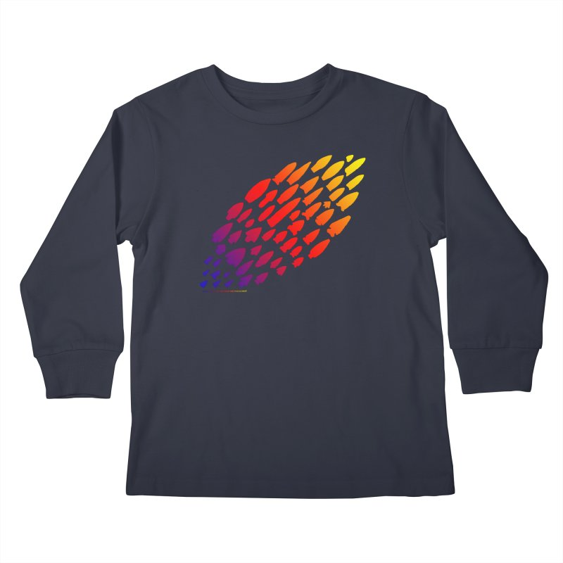 Iowa Projectile Points (Rainbow, Version 1) Kids Longsleeve T-Shirt by Iowa Archaeology Gifts, Prints, & Apparel
