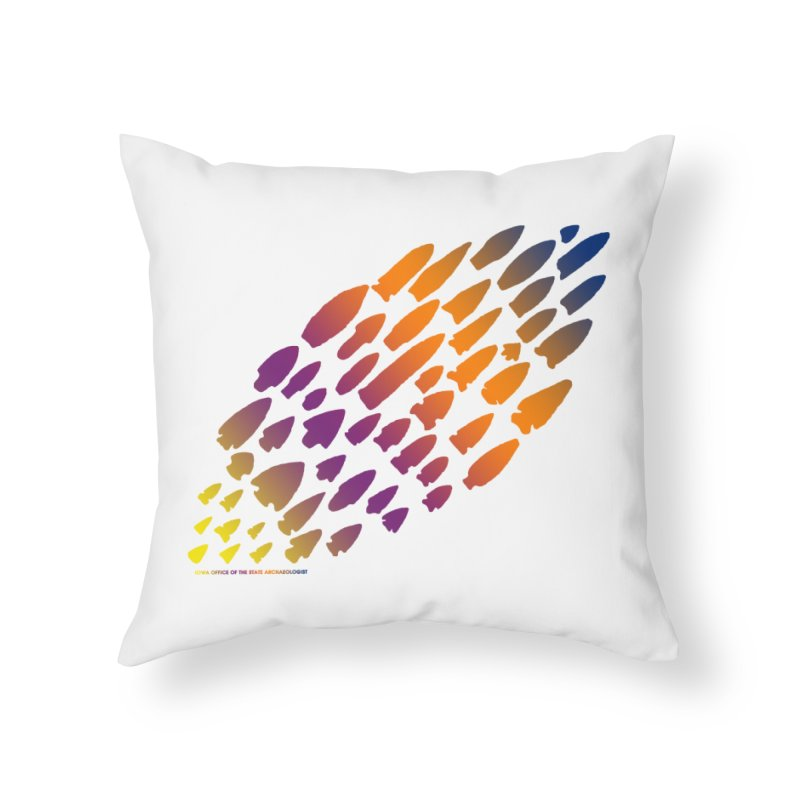 Iowa Projectile Points (Rainbow, Version 2) Home Throw Pillow by Iowa Archaeology Gifts, Prints, & Apparel