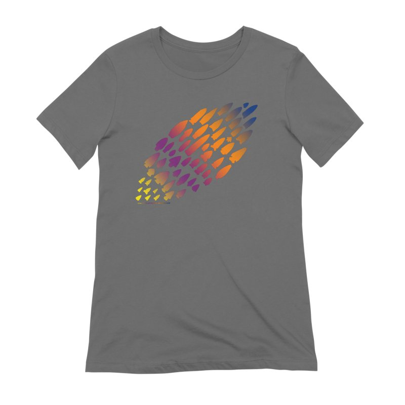 Iowa Projectile Points (Rainbow, Version 2) Women's T-Shirt by Iowa Archaeology Gifts, Prints, & Apparel