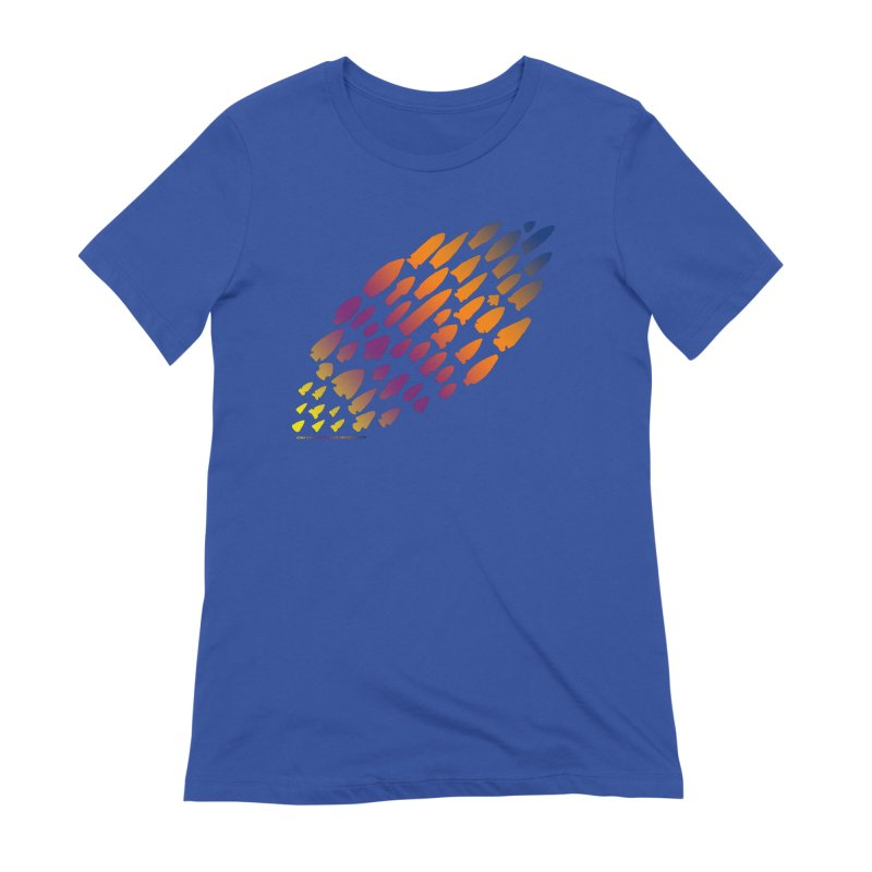 Iowa Projectile Points (Rainbow, Version 2) Women's Extra Soft T-Shirt by Iowa Archaeology Gifts, Prints, & Apparel