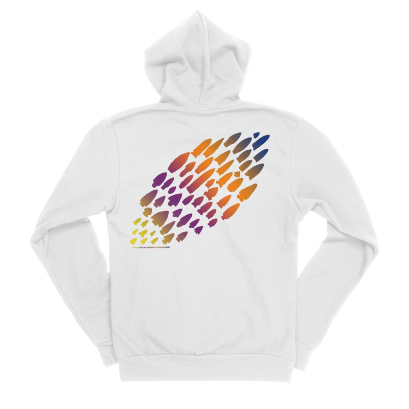 Iowa Projectile Points (Rainbow, Version 2) Women's Sponge Fleece Zip-Up Hoody by Iowa Archaeology Gifts, Prints, & Apparel