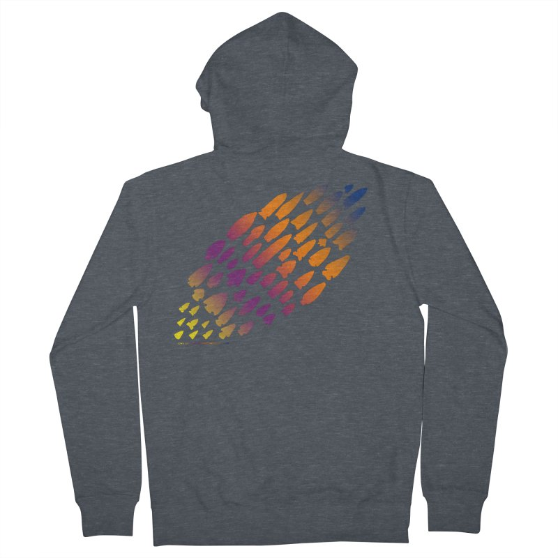 Iowa Projectile Points (Rainbow, Version 2) Women's French Terry Zip-Up Hoody by Iowa Archaeology Gifts, Prints, & Apparel