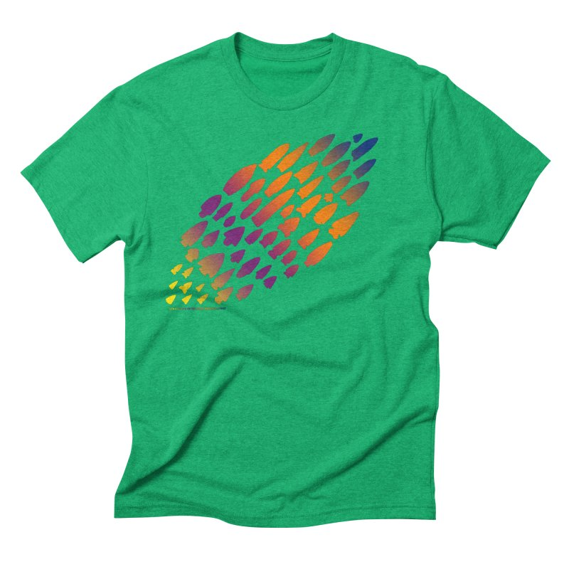 Iowa Projectile Points (Rainbow, Version 2) Men's Triblend T-Shirt by Iowa Archaeology Gifts, Prints, & Apparel