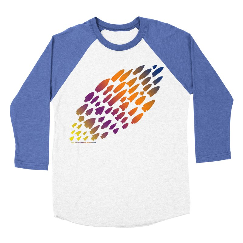 Iowa Projectile Points (Rainbow, Version 2) Women's Baseball Triblend Longsleeve T-Shirt by Iowa Archaeology Gifts, Prints, & Apparel