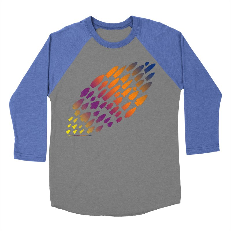 Iowa Projectile Points (Rainbow, Version 2) Men's Baseball Triblend Longsleeve T-Shirt by Iowa Archaeology Gifts, Prints, & Apparel