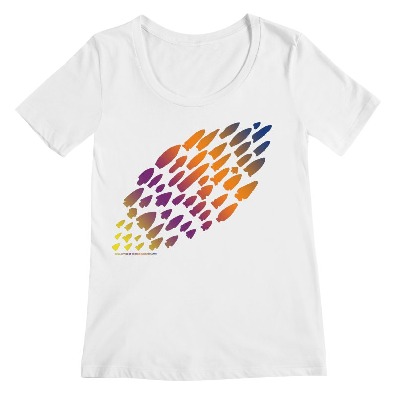 Iowa Projectile Points (Rainbow, Version 2) Women's Regular Scoop Neck by Iowa Archaeology Gifts, Prints, & Apparel
