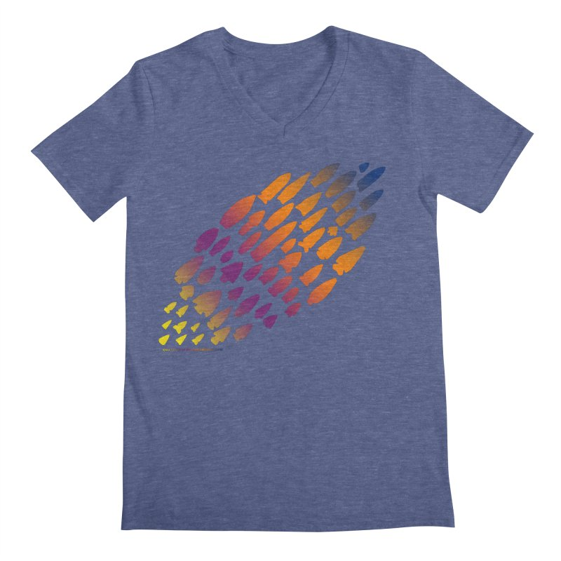 Iowa Projectile Points (Rainbow, Version 2) Men's Regular V-Neck by Iowa Archaeology Gifts, Prints, & Apparel