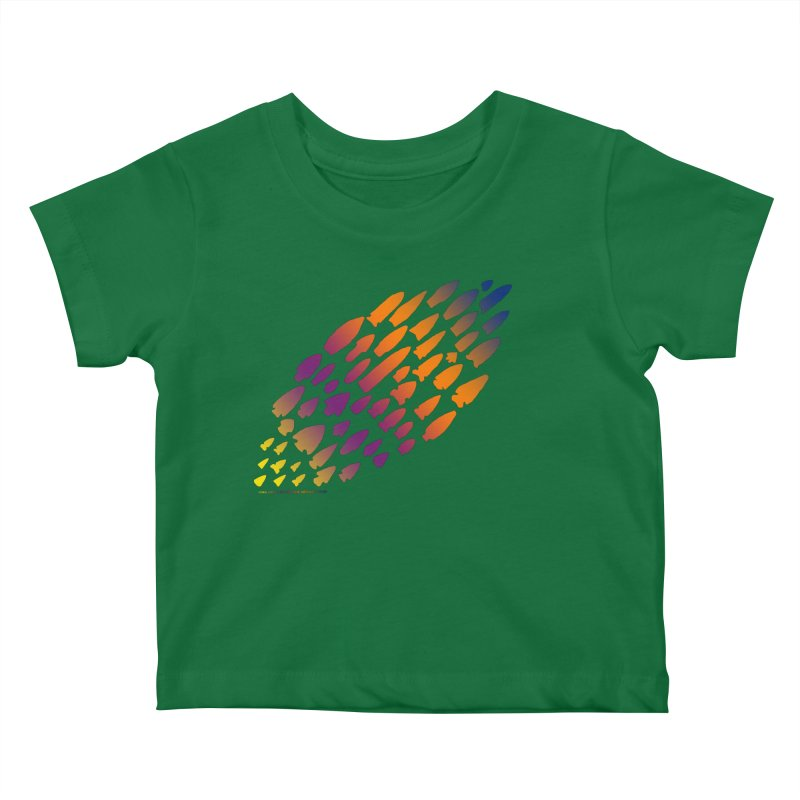 Iowa Projectile Points (Rainbow, Version 2) Kids Baby T-Shirt by Iowa Archaeology Gifts, Prints, & Apparel