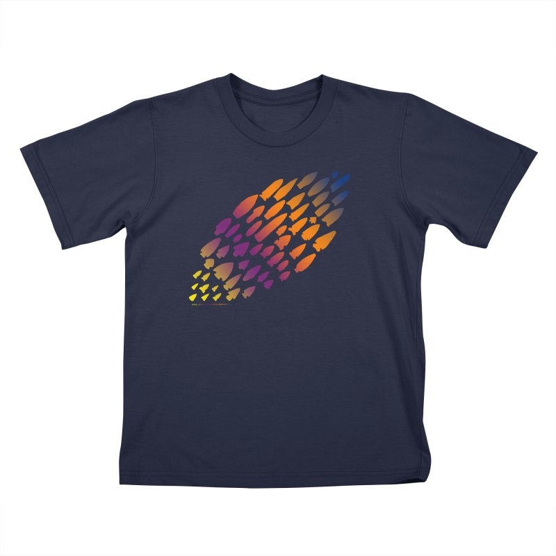 Iowa Projectile Points (Rainbow, Version 2) Kids T-Shirt by Iowa Archaeology Gifts, Prints, & Apparel