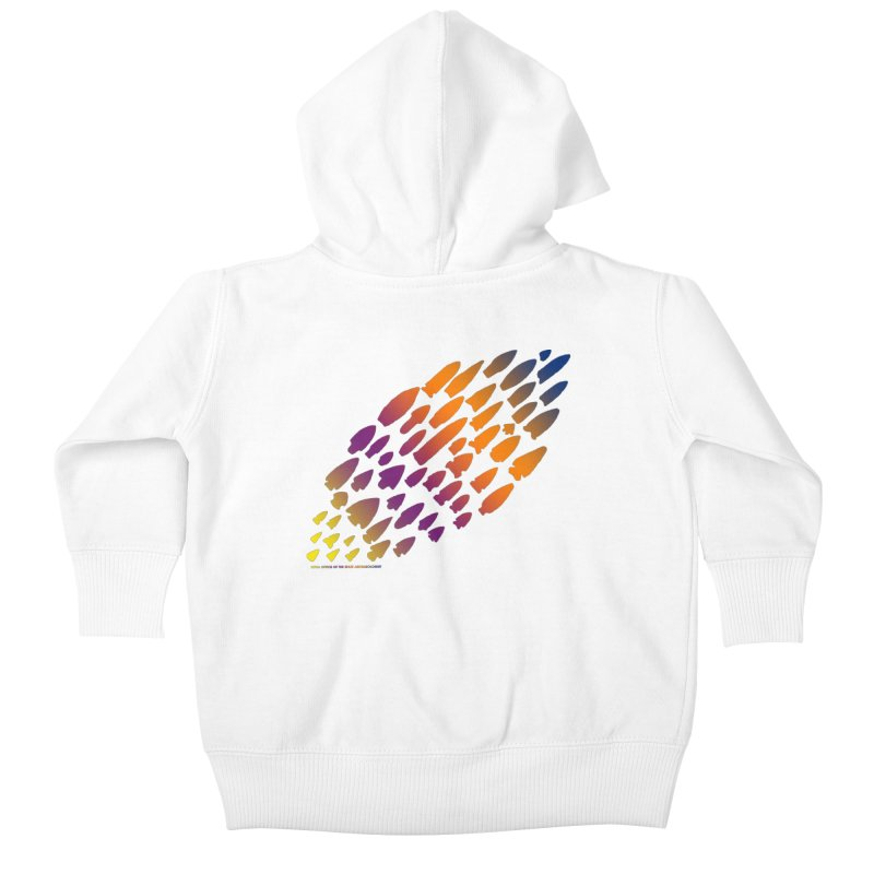 Iowa Projectile Points (Rainbow, Version 2) Kids Baby Zip-Up Hoody by Iowa Archaeology Gifts, Prints, & Apparel