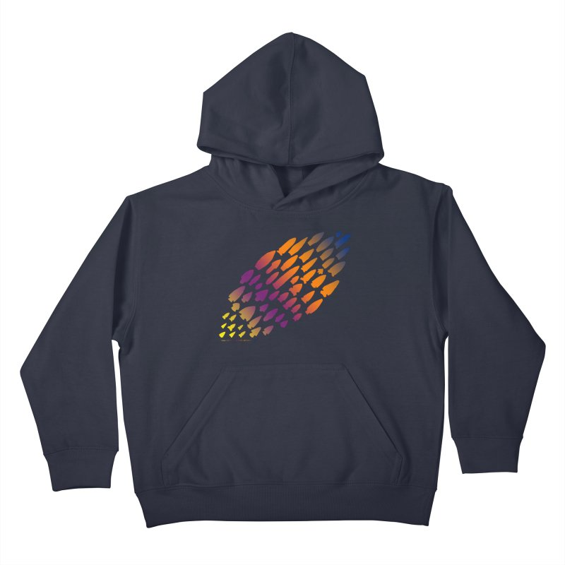 Iowa Projectile Points (Rainbow, Version 2) Kids Pullover Hoody by Iowa Archaeology Gifts, Prints, & Apparel